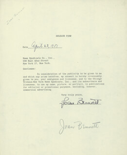 JOAN BENNETT - TYPED DOCUMENT SIGNED 04/23/1951
