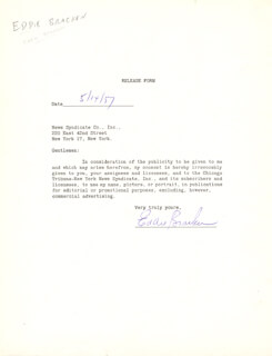 EDDIE BRACKEN - DOCUMENT SIGNED 05/14/1957
