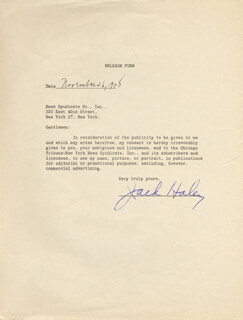 JACK HALEY SR. - DOCUMENT SIGNED 11/26/1948
