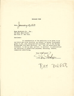 RAY BOLGER - DOCUMENT SIGNED 01/10/1950