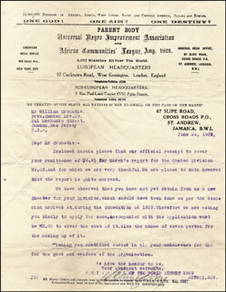 Autographs: MARCUS GARVEY - TYPED LETTER SIGNED 06/24/1931