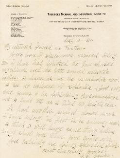 GEORGE WASHINGTON CARVER - AUTOGRAPH LETTER SIGNED 08/10/1931