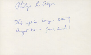 Autographs: PHILIP ALGER - AUTOGRAPH NOTE SIGNED