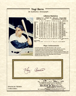 Autographs: YOGI BERRA - DOCUMENT SIGNED 11/07/1986 CO-SIGNED BY: HERBERT M. MANCINI