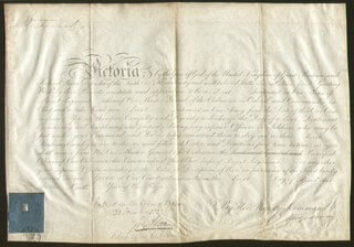 Autographs: QUEEN VICTORIA (GREAT BRITAIN) - MILITARY APPOINTMENT SIGNED 04/01/1846 CO-SIGNED BY: GEORGE MURRAY