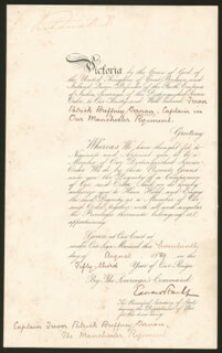 Autographs: QUEEN VICTORIA (GREAT BRITAIN) - MILITARY APPOINTMENT SIGNED 08/17/1889 CO-SIGNED BY: EDWARD STANHOPE