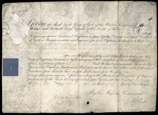 Autographs: KING GEORGE III (GREAT BRITAIN) - MILITARY APPOINTMENT SIGNED 09/26/1801 CO-SIGNED BY: THOMAS (2ND EARL OF CHICHESTER) PELHAM