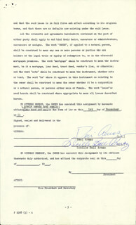 Autographs: LUCILLE LUCY BALL - DOCUMENT SIGNED 12/01/1961 CO-SIGNED BY: DESI ARNAZ SR.
