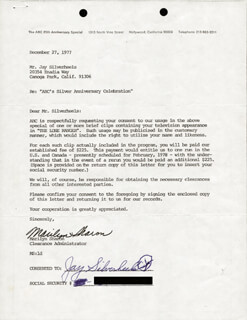 Autographs: JAY TONTO SILVERHEELS - DOCUMENT SIGNED 12/27/1977