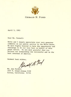 PRESIDENT GERALD R. FORD - TYPED LETTER SIGNED 04/05/1993