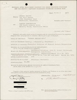 CONWAY TWITTY - CONTRACT SIGNED 03/02/1971