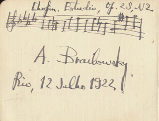 ALEXANDER BRAILOWSKY - AUTOGRAPH MUSICAL QUOTATION SIGNED 07/12/1922