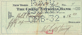 LEE TRACY - AUTOGRAPHED SIGNED CHECK 05/27/1933