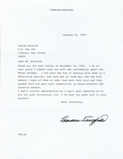FRANCES LANGFORD - TYPED LETTER SIGNED 01/21/1993