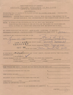 BUSBY BERKELEY - DOCUMENT SIGNED 01/31/1968