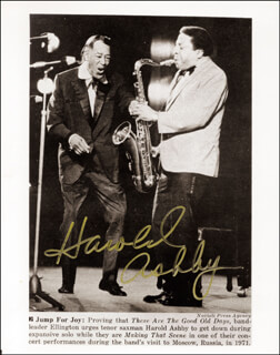 HAROLD ASHBY - AUTOGRAPHED SIGNED PHOTOGRAPH