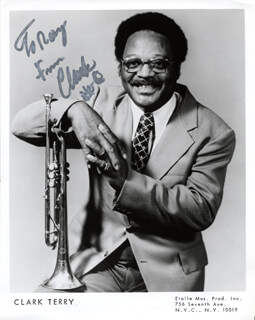 CLARK TERRY - INSCRIBED PRINTED PHOTOGRAPH SIGNED IN INK