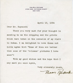FIRST LADY ELEANOR ROOSEVELT - TYPED LETTER SIGNED 04/13/1954