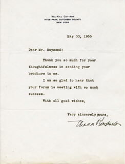 FIRST LADY ELEANOR ROOSEVELT - TYPED LETTER SIGNED 05/30/1955