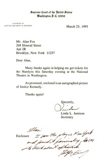 ASSOCIATE JUSTICE ANTHONY M. KENNEDY - AUTOGRAPH NOTE SIGNED 03/23/1993