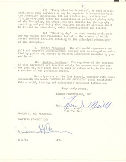 JAMES COBURN - DOCUMENT SIGNED 07/29/1967