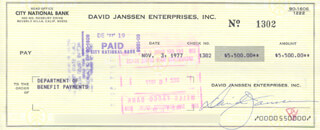 DAVID JANSSEN - AUTOGRAPHED SIGNED CHECK 11/03/1977
