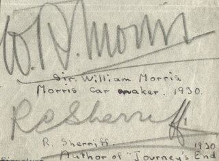 WILLIAM RICHARD MORRIS - AUTOGRAPH CIRCA 1930 CO-SIGNED BY: ROBERT C. SHERRIFF