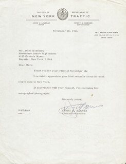HENRY A. BARNES - TYPED LETTER SIGNED 11/18/1966