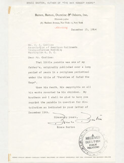 BRUCE BARTON - TYPED LETTER SIGNED 12/15/1954