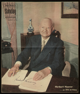 Autographs: PRESIDENT HERBERT HOOVER - MAGAZINE PHOTOGRAPH SIGNED CIRCA 1961
