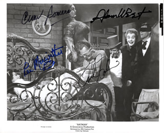 BATMAN TV CAST - AUTOGRAPHED SIGNED PHOTOGRAPH CO-SIGNED BY: LEE MERIWETHER, CESAR ROMERO, FRANK GORSHIN, ADAM WEST