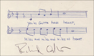 RICHARD ADLER - MANUSCRIPT MUSICAL QUOTATION SIGNED