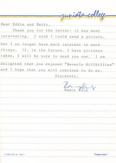 NANCY KULP - TYPED LETTER SIGNED CIRCA 1986