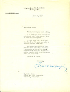Autographs: ASSOCIATE JUSTICE FRANK MURPHY - TYPED LETTER SIGNED 06/16/1949