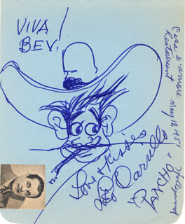 LEO PANCHO CARRILLO - INSCRIBED SELF-CARICATURE SIGNED CIRCA 1951