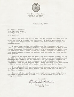 Autographs: MAYOR ABRAHAM D. BEAME - TYPED LETTER SIGNED 10/29/1974