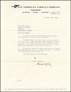 HAROLD GATTY - TYPED LETTER SIGNED 12/27/1938