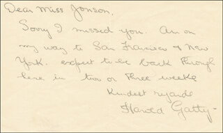 HAROLD GATTY - AUTOGRAPH LETTER SIGNED