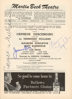 ORPHEUS DESCENDING BROADWAY CAST - SHOW BILL SIGNED CIRCA 05/1957CO-SIGNED BY: JOANNA ROOS, TENNESSEE WILLIAMS, MAUREEN STAPLETON