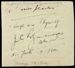 JAMES MICHAEL CHRISTOPHER FITZMAURICE - AUTOGRAPH NOTE SIGNED 05/19/1930