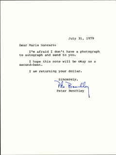 PETER BENCHLEY - TYPED LETTER SIGNED 07/31/1979