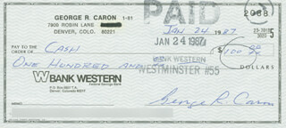 ENOLA GAY CREW (GEORGE R. CARON) - CHECK SIGNED & ENDORSED 01/24/1987