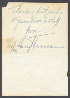 PRESIDENT HARRY S TRUMAN - INSCRIBED SIGNATURE 10/26/1958