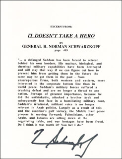 Autographs: GENERAL H. NORMAN SCHWARZKOPF - TYPESCRIPT SIGNED