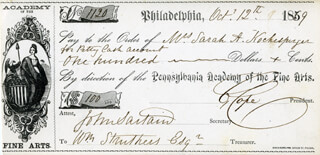 JOHN SARTAIN - AUTOGRAPHED SIGNED CHECK 10/12/1869