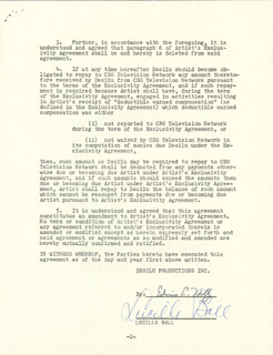 Autographs: LUCILLE LUCY BALL - CONTRACT SIGNED 03/06/1962 CO-SIGNED BY: EDWIN E. HOLLY