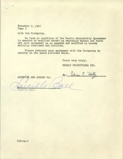 LUCILLE LUCY BALL - CONTRACT SIGNED 11/07/1962 CO-SIGNED BY: EDWIN E. HOLLY