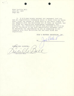 LUCILLE LUCY BALL - CONTRACT SIGNED 07/25/1967