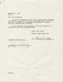 Autographs: DESI ARNAZ SR. - CONTRACT SIGNED 11/07/1962 CO-SIGNED BY: EDWIN E. HOLLY