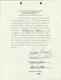 LUCILLE LUCY BALL - WAIVER SIGNED 04/03/1959 CO-SIGNED BY: MARTIN N. LEEDS, EDWIN E. HOLLY, DESI ARNAZ SR.
